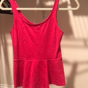Pink fitted peplum tank